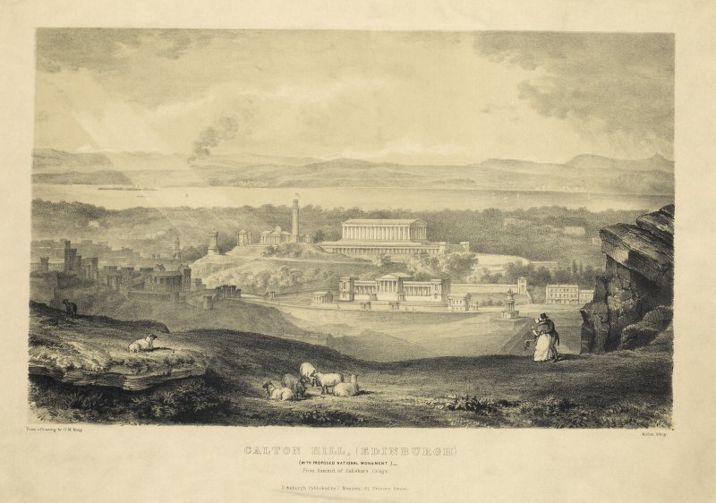 Lithograph showing Calton Hill, Edinburgh.