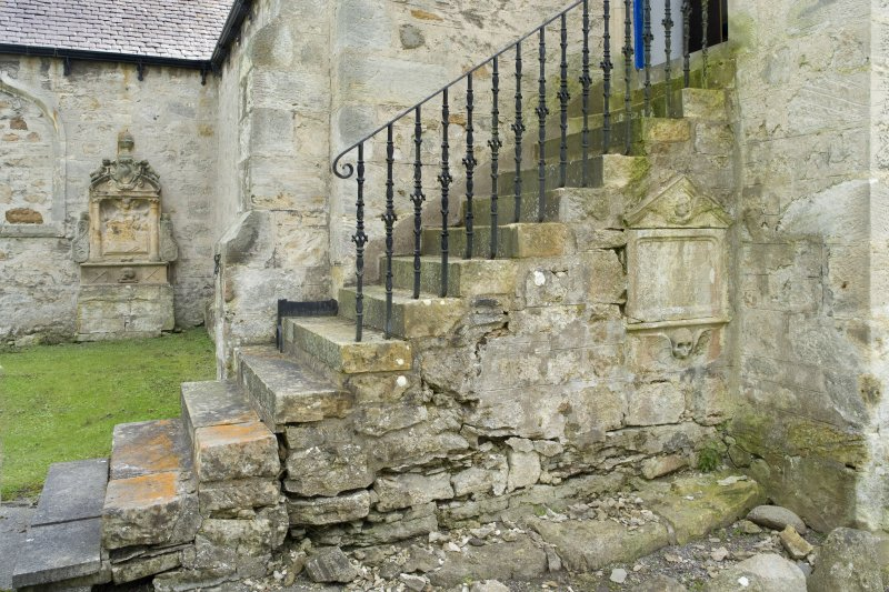 Tower entrance steps. Detail