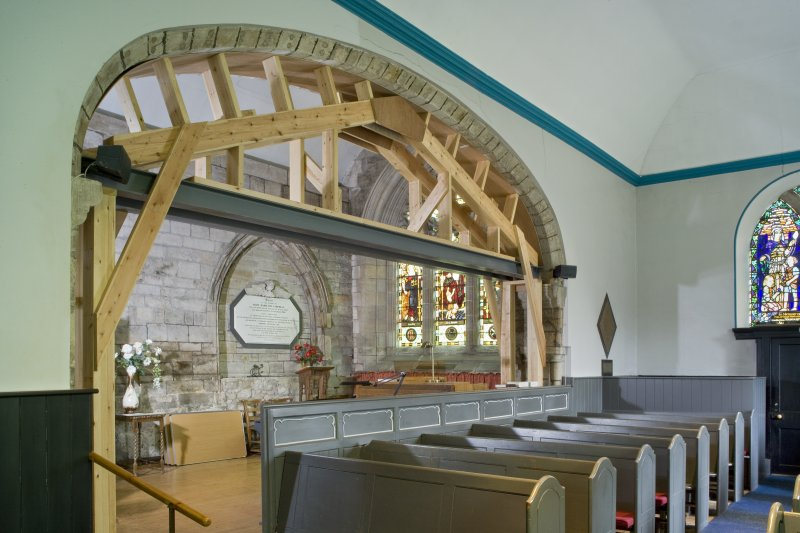 Interior. Side Chapel and arch. View from SW