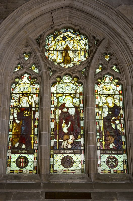 Interior. Side Chapel. Stained glass window. Detail