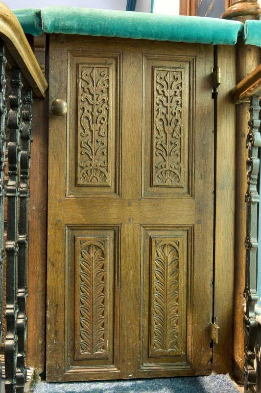 Interior. Pulpit. Carved panels. Detail