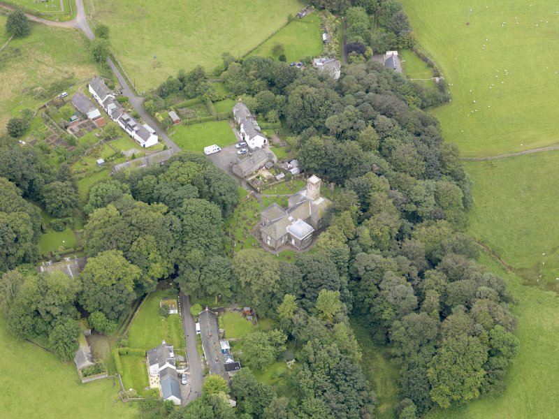 Oblique aerial view of Durisdeer, centred on the parish church, taken from the NE.