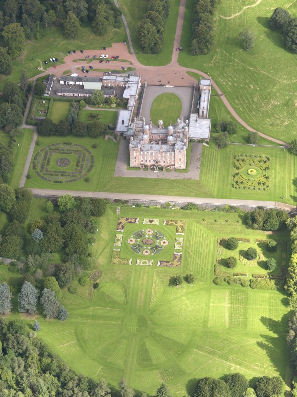 Oblique aerial view of Drumlanrig Castle and gardens, taken from the S.