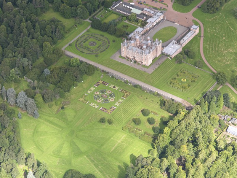 Oblique aerial view of Drumlanrig Castle and gardens, taken from the SSE.