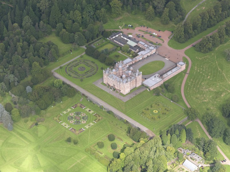 Oblique aerial view of Drumlanrig Castle and gardens, taken from the SE.