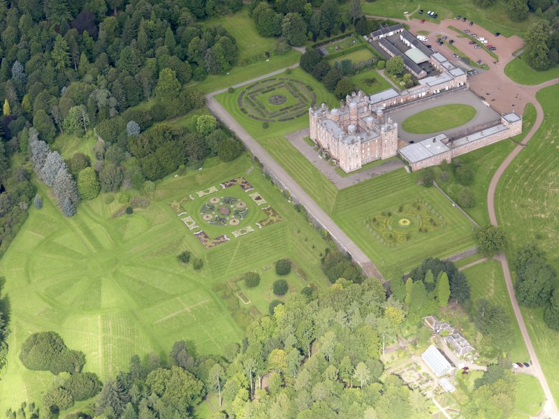 Oblique aerial view of Drumlanrig Castle and gardens, taken from the ESE.