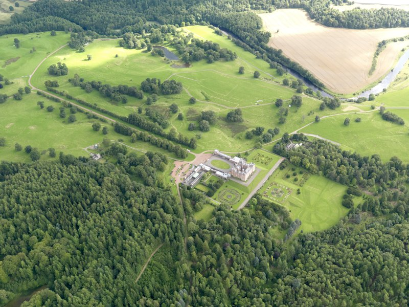 General oblique aerial view of Drumlanrig Estate and policies, taken from the WSW.