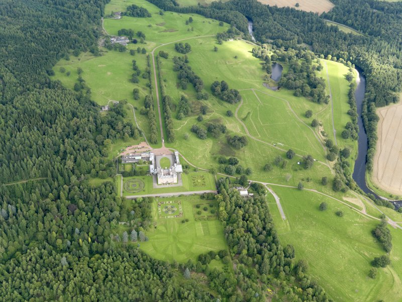 General oblique aerial view of Drumlanrig Estate and policies, taken from the SSW.