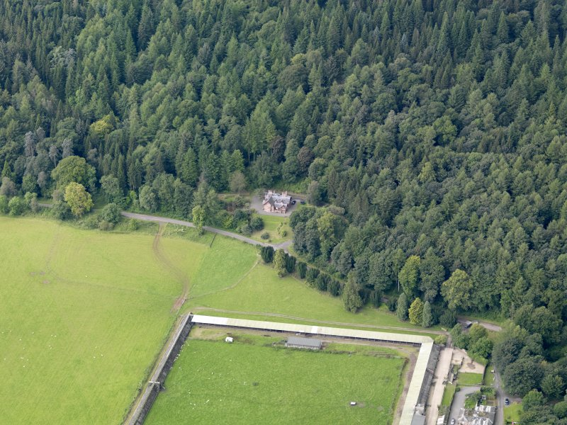 Oblique aerial view of Drumlanrig Estate Low Gardens House, taken from the ENE.