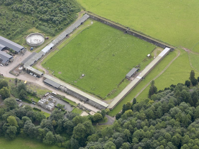 Oblique aerial view of Drumlanrig Estate walled garden, taken from the NW.