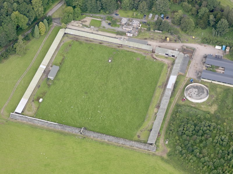 Oblique aerial view of Drumlanrig Estate walled garden, taken from the SE.