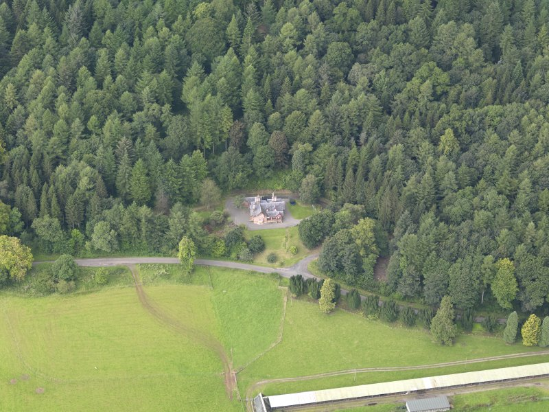 Oblique aerial view of Drumlanrig Estate Low Gardens House, taken from the E.