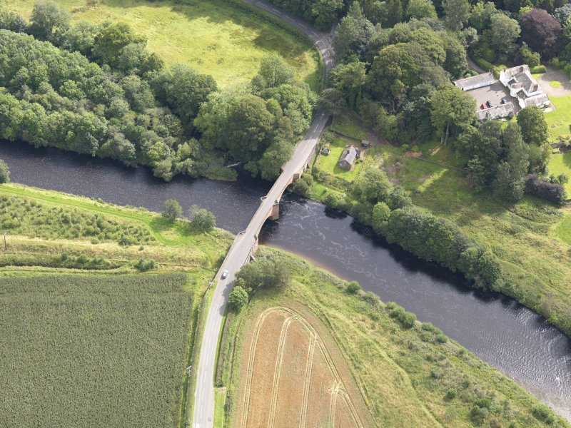 Oblique aerial view of Nith Bridge, taken from the W.
