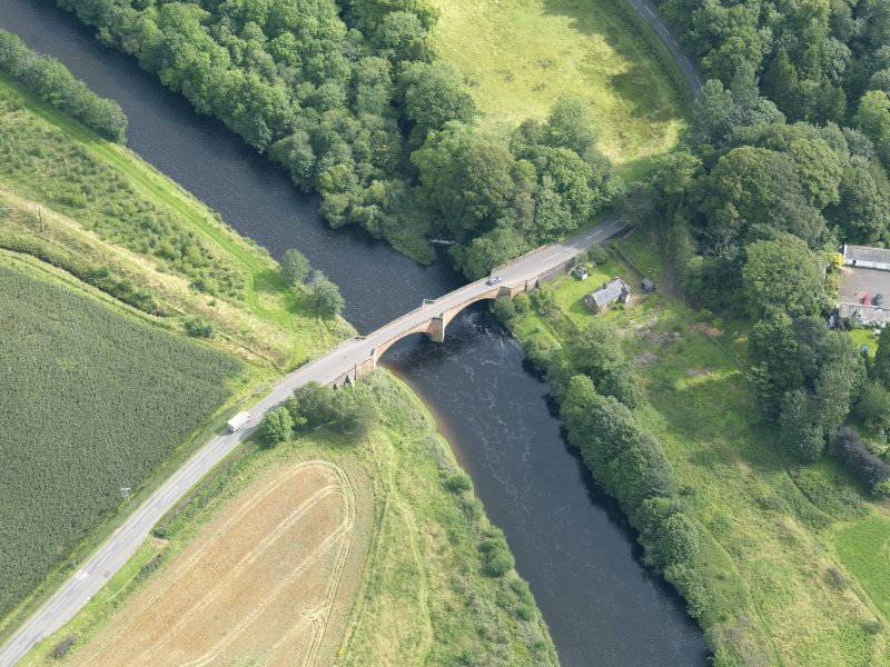 Oblique aerial view of Nith Bridge, taken from the SW.