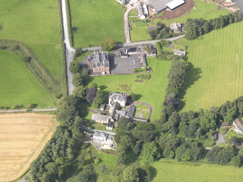 Oblique aerial view of Wallacehall Academy and Closeburn School, taken from the E.