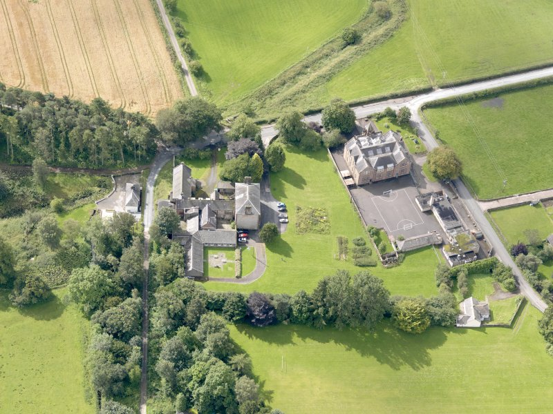 Oblique aerial view of Wallacehall Academy and Closeburn School, taken from the N.