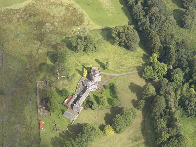 Oblique aerial view of Closeburn Castle, taken from the S.