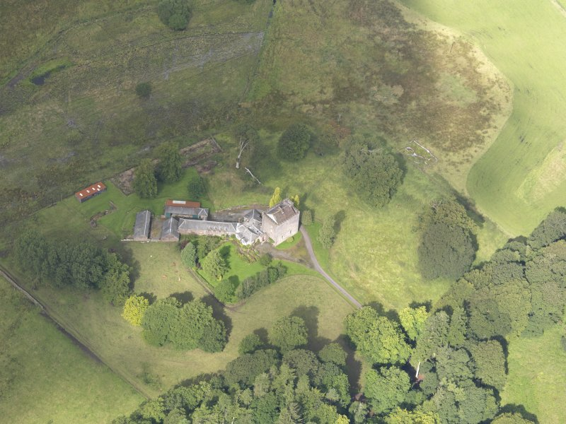 Oblique aerial view of Closeburn Castle, taken from the ESE.