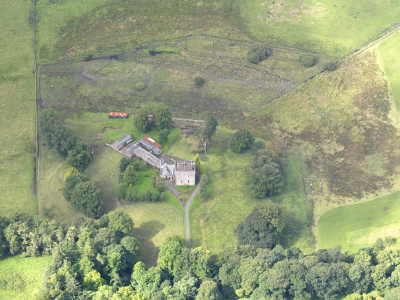 Oblique aerial view of Closeburn Castle, taken from the ENE.