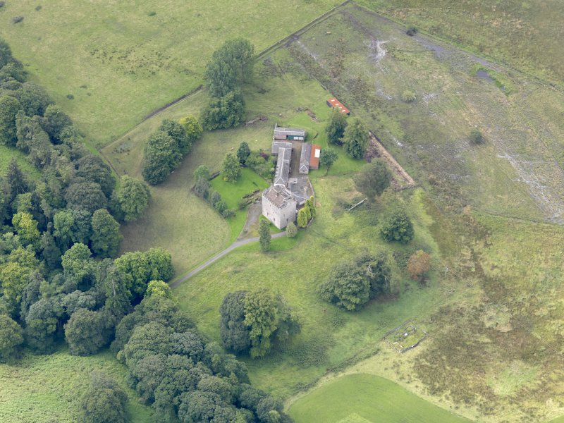 Oblique aerial view of Closeburn Castle, taken from the NNE.