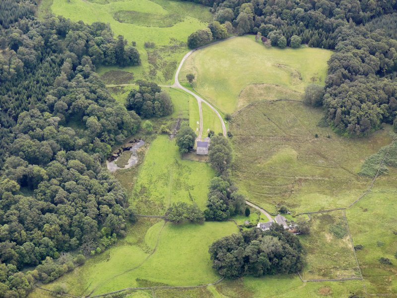 Oblique aerial view of Earlstoun Castle, taken from the NW.