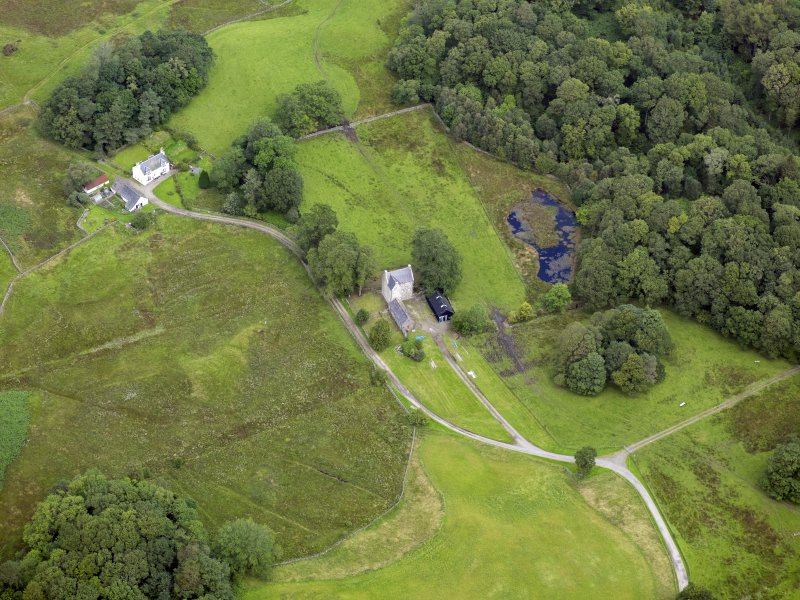 Oblique aerial view of Earlstoun Castle, taken from the SSE.