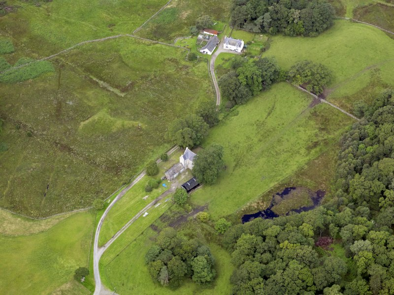 Oblique aerial view of Earlstoun Castle, taken from the E.