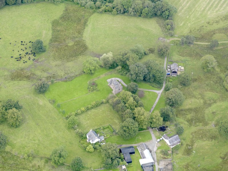 Oblique aerial view of Barscobe Castle, taken from the SE.