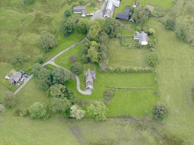 Oblique aerial view of Barscobe Castle, taken from the WNW.