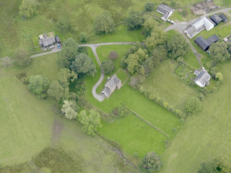 Oblique aerial view of Barscobe Castle, taken from the WSW.