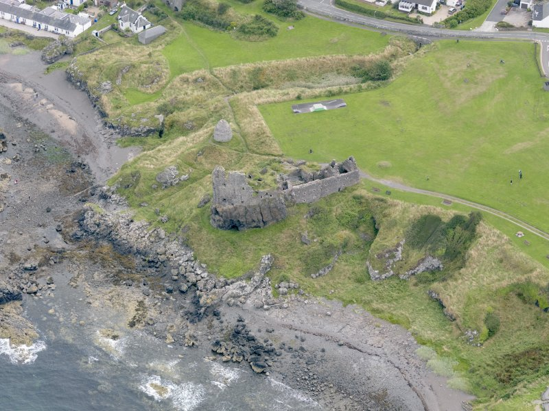 Oblique aerial view of Dunure Castle, taken from the WNW.