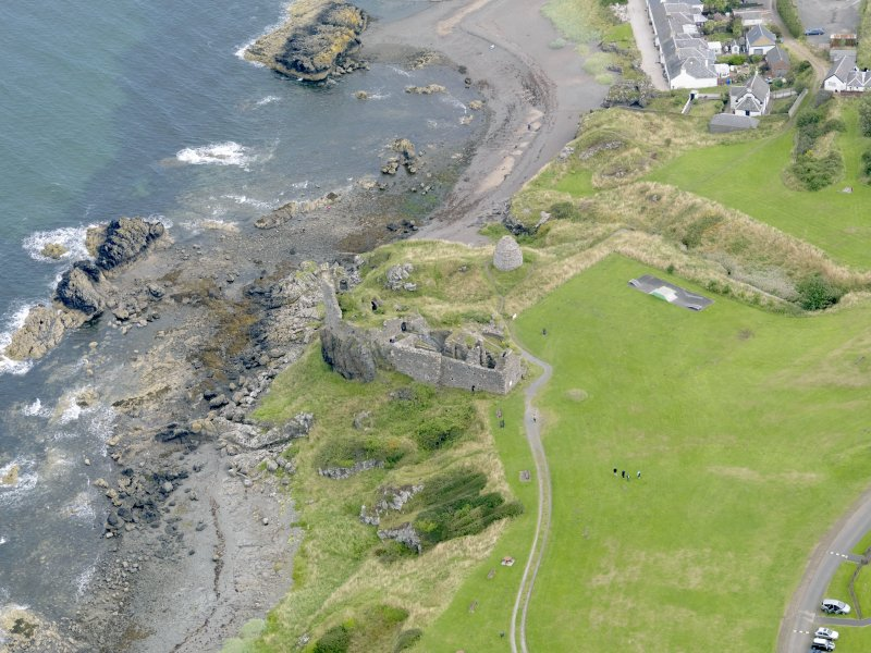 Oblique aerial view of Dunure Castle, taken from the SW.