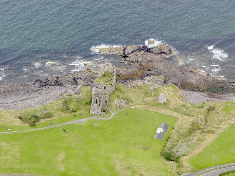 Oblique aerial view of Dunure Castle, taken from the SE.