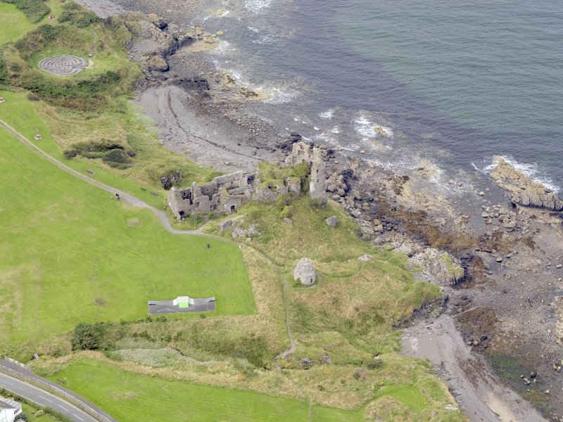 Oblique aerial view of Dunure Castle, taken from the ENE.