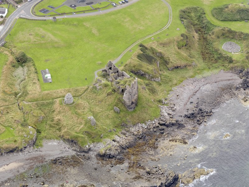 Oblique aerial view of Dunure Castle, taken from the NNW.