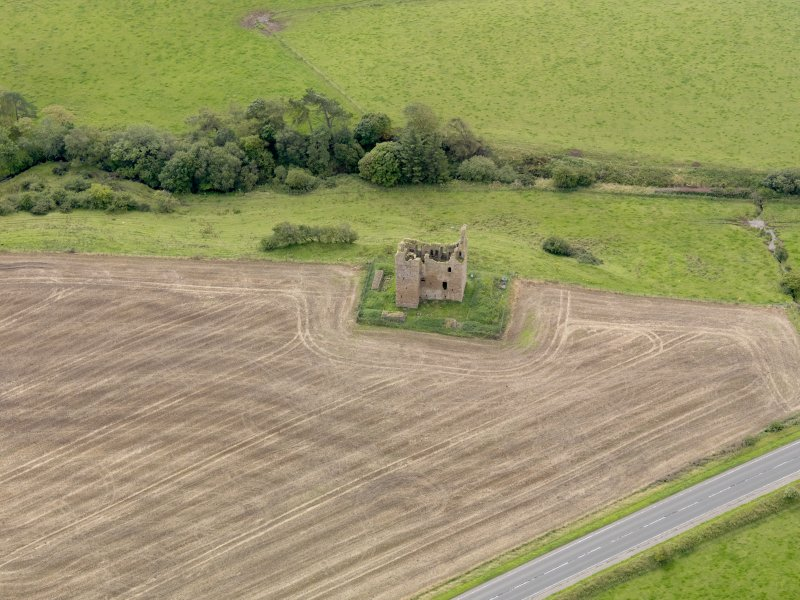Oblique aerial view of Baltersan Castle, taken from the NNW.
