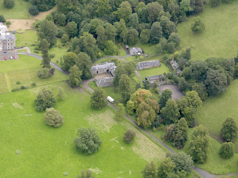 Oblique aerial view of Kilkerran House stables, taken from the WNW.