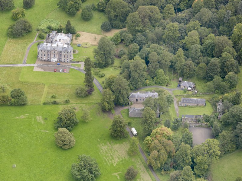 Oblique aerial view of Kilkerran House and policies, taken from the WSW.