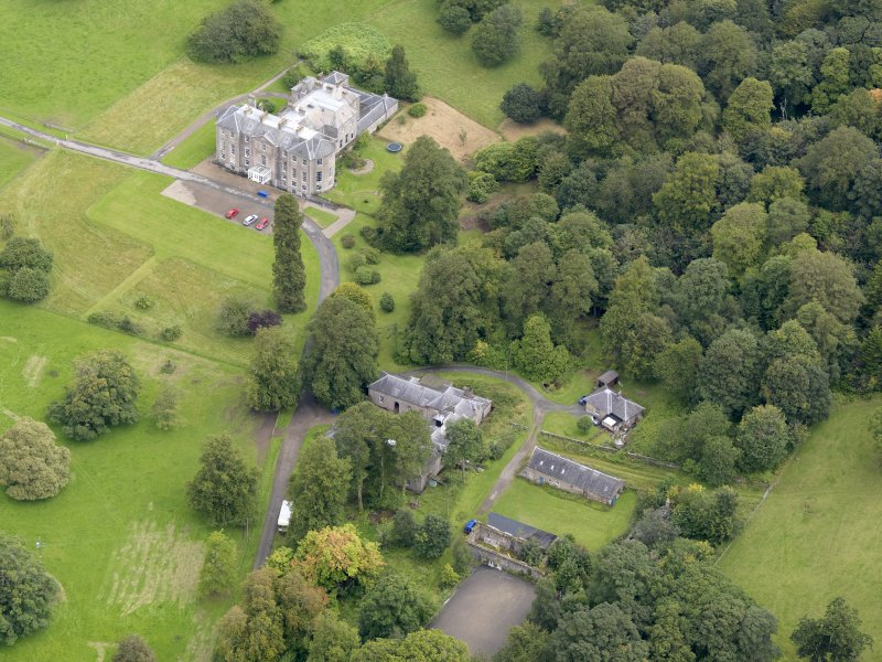 Oblique aerial view of Kilkerran House and policies, taken from the SW.