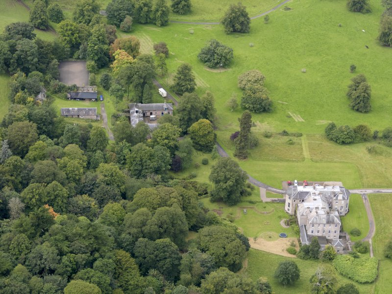 Oblique aerial view of Kilkerran House and policies, taken from the ENE.