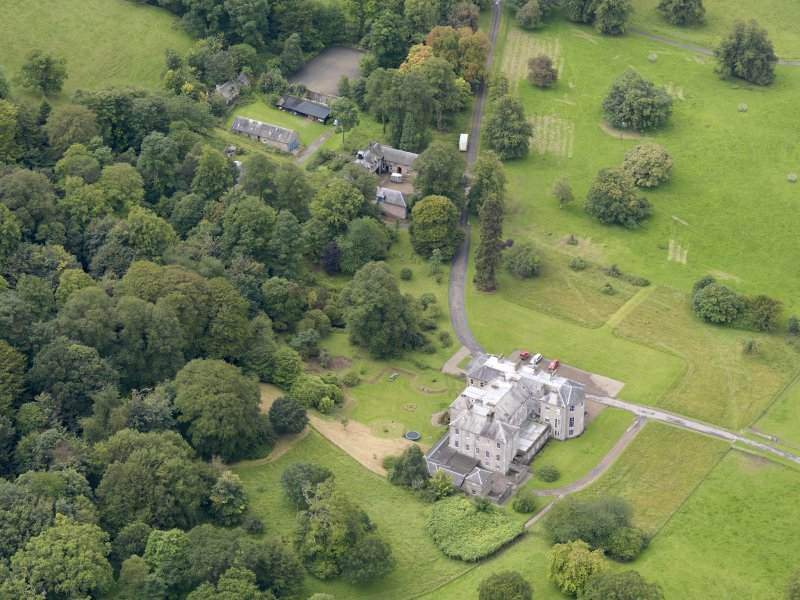 Oblique aerial view of Kilkerran House and policies, taken from the NE.