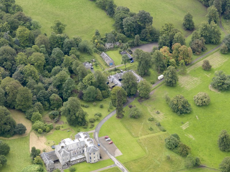Oblique aerial view of Kilkerran House and policies, taken from the NNE.
