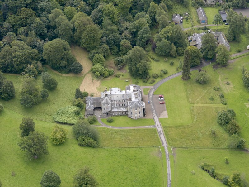 Oblique aerial view of Kilkerran House and policies, taken from the N.