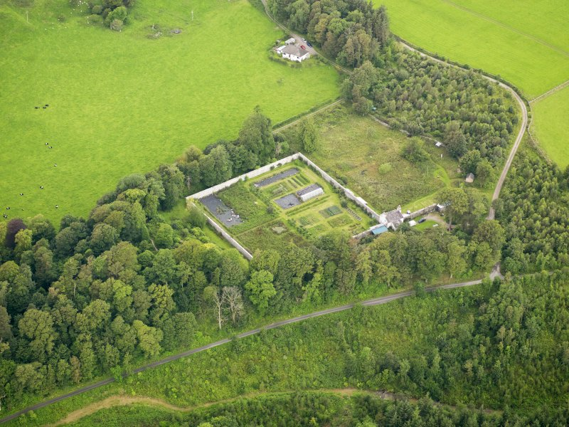 Oblique aerial view of Kirkdale House walled garden, taken from the ESE.