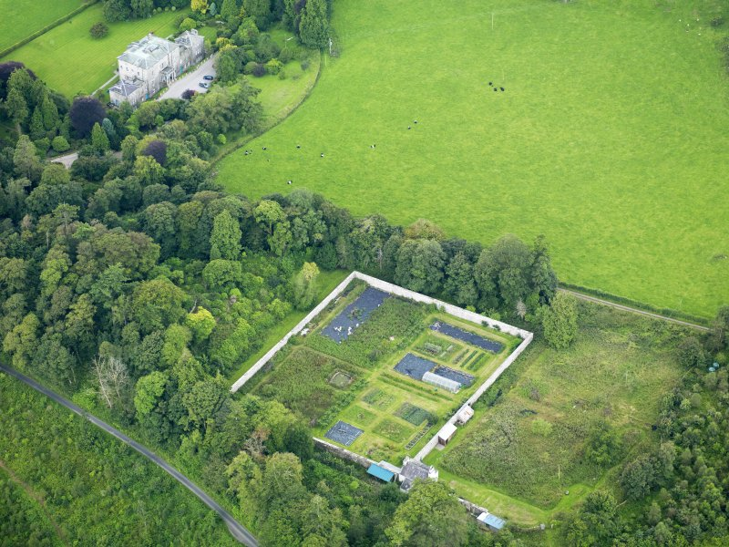 Oblique aerial view of Kirkdale House walled garden, taken from the NE.