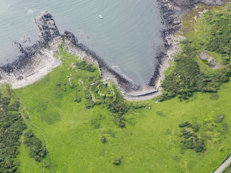 Oblique aerial view of Castle Haven dun, taken from the NE.