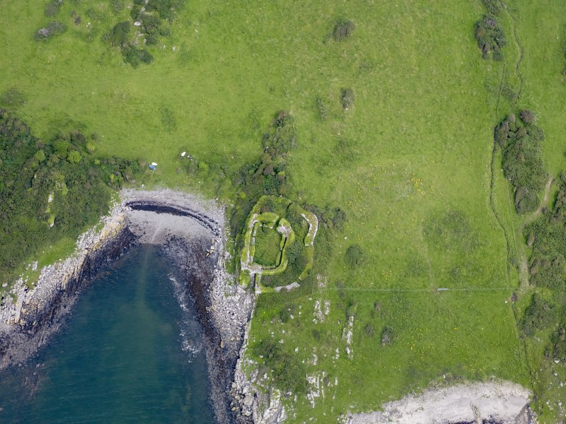 Oblique aerial view of Castle Haven dun, taken from the SW.