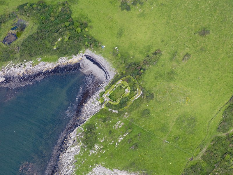 Oblique aerial view of Castle Haven dun, taken from the S.