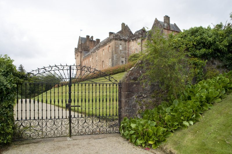 View of walled garden boundary and cast iron gates to north east of castle