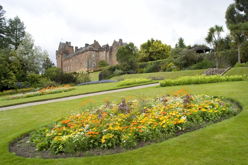 View looking across the walled garden to the castle taken from the east